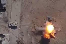 صور:استهداف داعشي لمدرعة عراقية