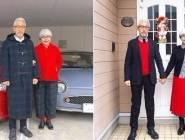 صور ..زوجان يتشاركان الحب بنفس الملابس منذ 37 عام