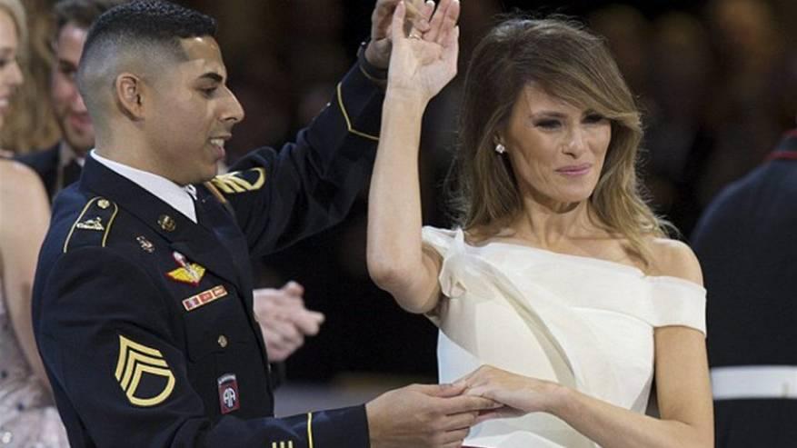 جندي-أمريكي-يرقص-مع-زوجة-ترامب