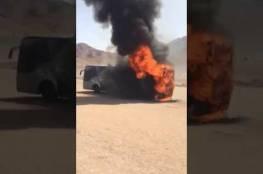 احتراق حافلة معتمرين اردنية بالسعودية (فيديو)