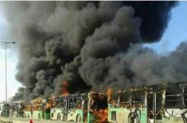 مجموعة من المسلحون يحرقون حافلات الإجلاء من كفريا والفوعة