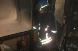 الدفاع المدني الفلسطيني يخمد حريق منزل في البيرة