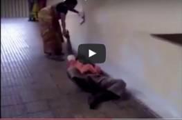 الهند: بالفيديو: امرأة تجر زوجها في المستشفى لعدم توفر نقالة