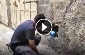 شرطة الاحتلال تنشر فيديو من موقع عملية الطعن التي نفذها الشهيد أحمد غزال بشارع الواد بالقدس المحتلة .