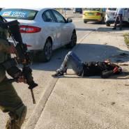 #شاهد  جيش الاحتلال الإسرائيلي يُطلق النار على شاب فلسطيني على حاجز حوارة، بزعم محاولته تنفيذ عملية طعن.
