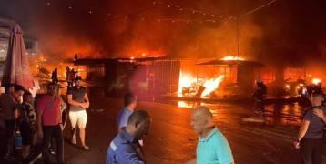 """حريق كبير خارج عن السيطرة في سوق """"البالة"""" في نابلس"""