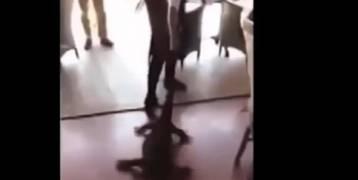 فيديو:نادلة مطعم تجر سحلية ضخمة من ذيلها